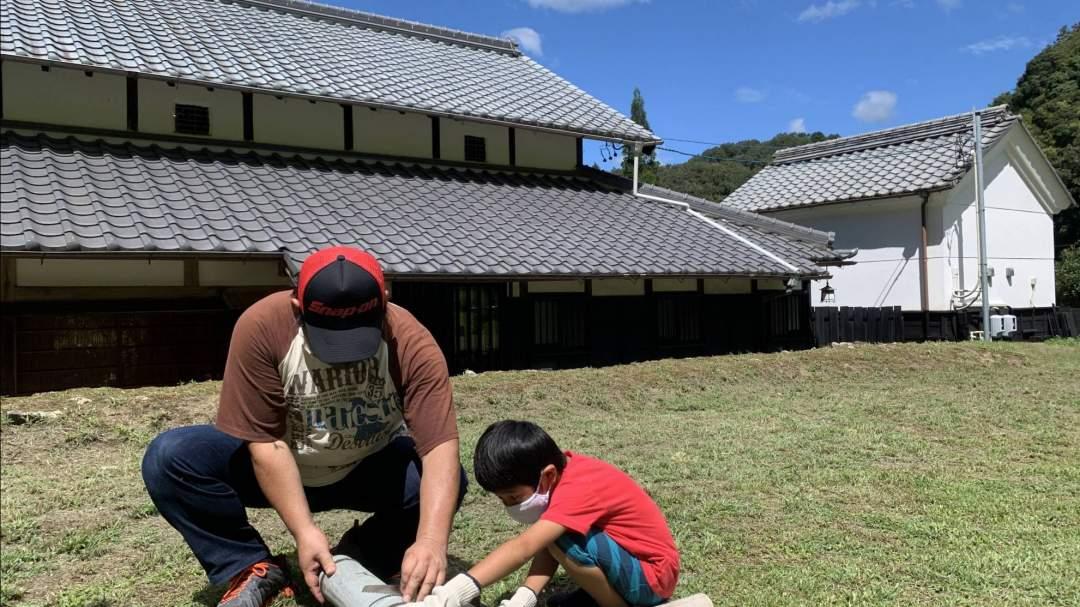 本物の竹を使って、流し樋やお皿をクラフト!