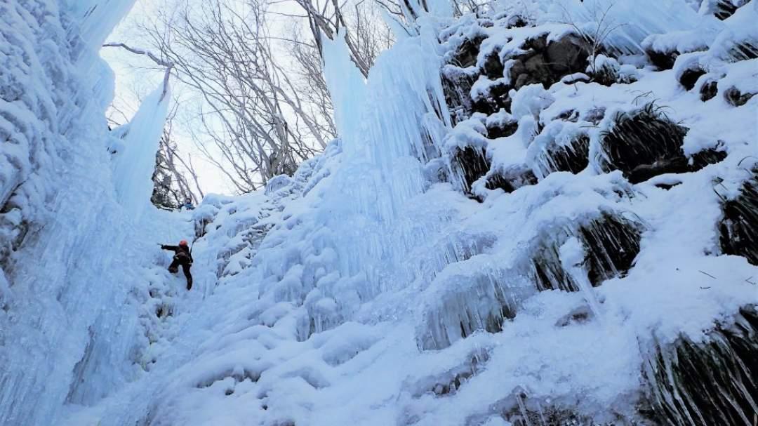 慣れてきたら中上級25mの氷壁へトライ!圧巻です!